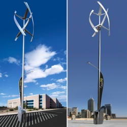 GE and Urban Green Energy just unveiled the Sanya Skypump - a wind and solar-powered electric vehicle charging station!