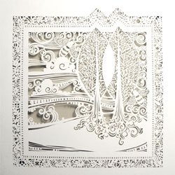 Intricate paperwork from white papers press (Sara Burgess).
