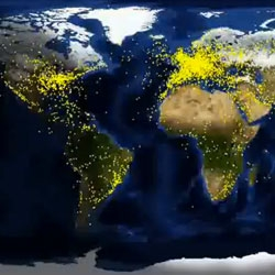 24 hours of air traffic around the world, as viewed by satellite.