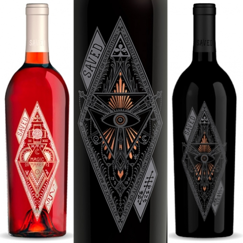 Saved Wines from tattoo artist Scott Campbell. Beautiful bottle art.