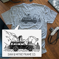 Land Cruiser Photographer T-shirt by Joshua Minnich for Saw & Mitre Framing Co.