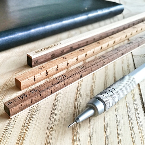 Canadiano Designer Scaled Ruler Set. Made of laminated hardwoods, these minimal scales are a nostalgic take on an ordinary item.
