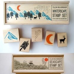 Yellow Owl Workshop has some of the most adorably simple stamp-scape sets ~ Winterscape, Landscape, Seascape...