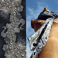 "Stunning new Peacock Scarf from Sara Blake, ZSO-NYC. 35"" x 80"", silk twill, hand rolled hem."