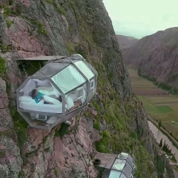 Thrill-seeking travelers can now stay in Naturavive's Skylodge, a trio of transparent pods placed 400 feet (122m) above the ground on a cliff-face in the Peruvian Andes.