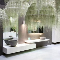 Rain Forest. French architect Patrick Nadeau combines epiphytes wit Corian for Boffi Bains Paris.