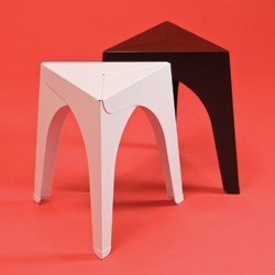 schindlersalmerón's light and stackable aluminium stool is assembled from three identical aluminium sheets that stabilize each other through spatial folding.
