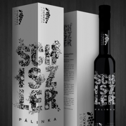 Lovely packaging for Schiszler Silver (Hungarian Palinka) designed by 5andor 52alay of öthuszonöt.