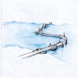 The bridge over the Straits of Messina according to Gaetano Pesce.