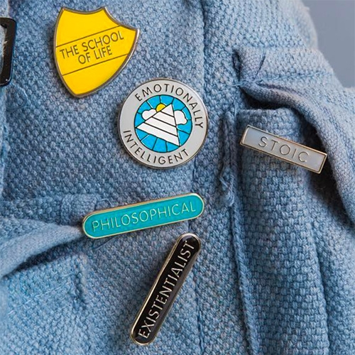 The School Of LIfe Pin Badges - show off you're Emotionally Intelligent, Existentialist, Stoic, Philosophical and more.