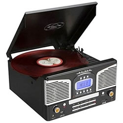 Retro looking record player plays vinyl records, CDs, AM/FM radio and music from your iPod. It can also record to MP3 format.
