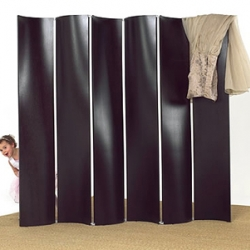 Double Curve Screen by Soorikian Furniture can be configured with any number of panels. The curve of each panel provides play with light that brings the piece to life.