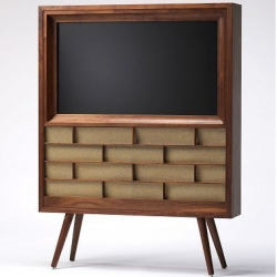 Stylish and Eco-friendly Flat Panel Console from Visionary Boutique. Crafted in sustainable American black walnut, vintage speaker cloth, and a non-toxic, hand-rubbed oil finish.