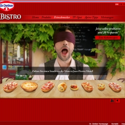 Fantastic interactive animation for the launch of the new Dr. Oetker 'Bistro' food. Feed Jean Pierre, a french gourmet, with your cursor and let him criticize.
