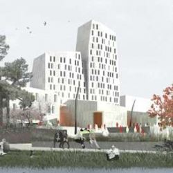 Schmidt Hammer Lassen recently won the competition to design a hotel and conference center in Lund, Sweden. The building will be located at the city's highest point. This gives me a huge grin.
