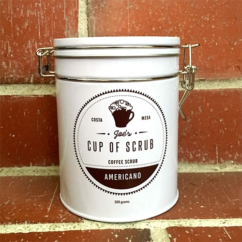 Joe's Cup of Scrub - small batch, organic coffee-based face/body scrubs out of Costa Mesa, CA. Currently available in Americano Scrub.