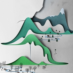 Vertical Landscape - Intricate and beautiful cut paper landscapes by Eiko Ojala.