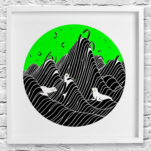 "Brendan Monroe and Evah Fan print collaboration 08 for California Sunday inspired by the sound of the ocean and seals. Limited edition of 100. Letterpressed in black, silkscreen in fluorescent green, and gold foil stamped. 12""x12""."