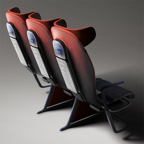 Move Airline Seat Concept for Airbus designed by Layer Design. A dreamy futuristic air travel concept with so many lovely details, from the materials, to the back of seat table design, to the colors and more...