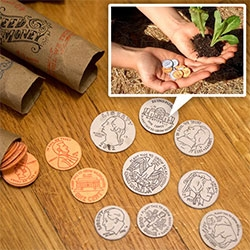 Seed Money by Leafcutter Designs! From kickstarter to my mail box, these coins can be planted to grow goodness! Made from custom made seed filled paper that is then letterpressed and cut. Great packaging!