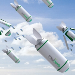 Seedbombs are plant-loaded projectiles designed to be dropped out of planes to help slow the spread of desertification around the world.