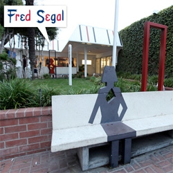 NOTCOT's Fave Places ~ a fun series sponsored by Kia! This time... a peek at the awesome patio in front of Fred Segal Santa Monica... such cute benches!