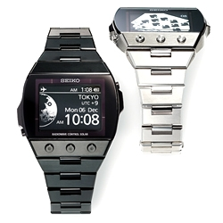 Seiko SGDA watches with EPD (e-reader display technology) produce smooth 300dpi images/ fonts and 180 degree viewing angles.