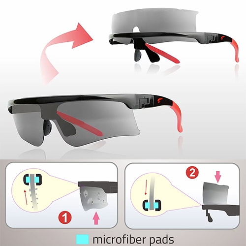 Sacuba Eyewear is self cleaning! Simply slide the lens up and down through the built in microfiber pads.
