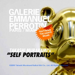 "Galerie Emmanuel Perrotin presents artist Takashi Murakami's newest solo show ""Self Portraits"" featuring three monumental works, two films, and five sculptures including four Kanye West bears. One each: gold, bronze, silver, and full-color."