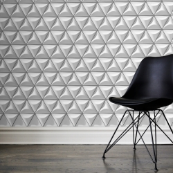Sens wall cover, composed of flat triangles and reliefs of various sizes, personalize, customize. By 5 Sens Creation.