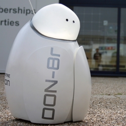 DON-8r is a fund raising robot that relies on coin donations to keep it moving.  DON-8r raises money for charities through encouraging playful and empathetic support from strangers.