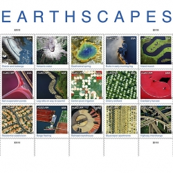 Earthscapes stamps to be issued by the USPS in 2012 are fifteen actual landscape images taken from the air and satellites.
