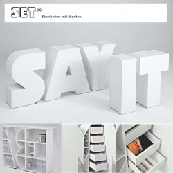 Set 26 is freestanding letter storage furniture available in all 26 letters (and a plus sign), they come in 6 color options and are great for commercial or residential uses. Fun and functional!