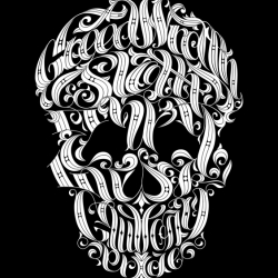 A master-work of typography by Joby Cummings, wherein each of the seven deadly sins are woven into the unmistakable likeness of a skull. The best t-shirt we know of for tracking how to avoid eternal damnation.