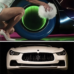How to Sexercize the Maserati Ghibli. We get hands on with the Maserati Ghibli S Q4 and a peek behind the scenes of Kylie Minogue's Sexercize video with Roman Coppola and Chandelier Creative to see how they transformed the Ghibli.