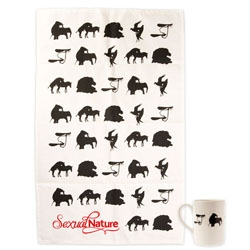 Gifts from the NHM shop to accompany their Sexual Nature exhibition include cute mugs and teatowels with silhouettes of mating animals.