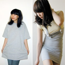 Mari Santos does some seriously impressive tshirt surgeries... From giant tee to sexy dresses and tops.