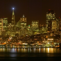 Ultra high resolution zoomable panorama of San Francisco at night using the google maps engine.