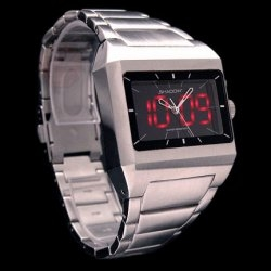 When is a regular stainless steel watch not a stainless steel watch?  When it's a retro LED watch.