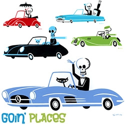 Shag Goin' Places show opens tonight at Rotofugi, and the 12 vintage cars with skeleton drivers with pets/drinks are just stunning!