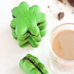 Shamrock Macarons with Baileys Chocolate Ganache to celebrate St Patrick's Day!