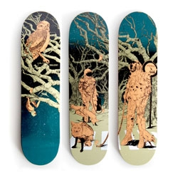 Three beautiful skateboard designs by Shan Jiang for the Antwerp skate shop Lockwood.