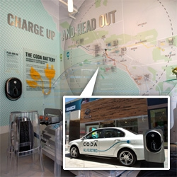 "CODA ~ the Los Angeles tech startup/electric car company - launches their first ""Experience Center"" in Century City Mall with a Test Drive Center directly below in the parking garage. Take a peek inside the super eco, apple store like space."