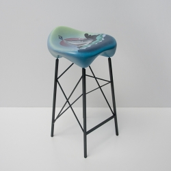 Philadelphia-based artist Yis 'Nosego' Goodwin collaborates with Point B Design on the Nodulus Artist Series, a set of colorful barstools.