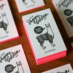 Shyama Golden has some pretty crazy business cards. Pink edges and llamas with glasses. Designed by Shyama Golden and printed by the Mandate Press.