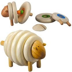 Plan Toys Wooden Lacing Sheep - Children can lace corresponding colors together to form a sheep. The toy helps them learn basic colors and sequence.