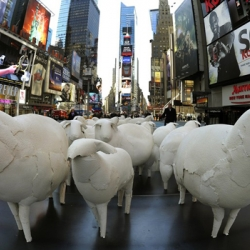 Kyu Seok Oh's sheep in Times Square, a part of Armory Art Week in New York.