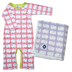 Mengsel's sheep print for babies. It comes in bibs, blankets, onesies, and more.