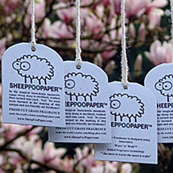 """Sheep Poo Paper - """"These delightful eco-friendly air fresheners are made from the finest and freshest sheep poop from the rolling green mountains of Wales…"""""""
