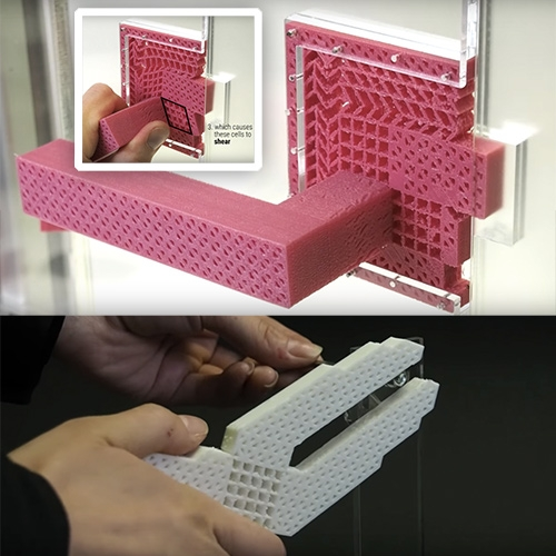 "3D Printed Metamaterial Mechanisms - ""We don't consider metamaterials as materials, but as machines. They require no assembly, as they consist of a single part."" From the Hasso Plattner Institute HCI Lab."